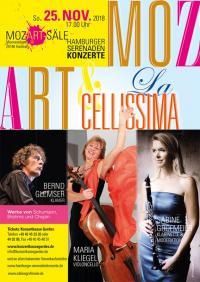 """HAMBURGER SERENADENKONZERTE * La Cellissima""""– MARIA KLIEGEL, Violoncello * SABINE GROFMEIER, Klarinette und Moderation * BERND GLEMSER, Klavier"""